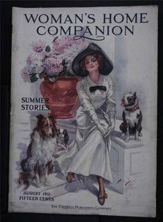 1911 WOMAN'S HOME COMPANION MAGAZINE~HARRISON FISHER WOMAN~BULLDOG~COLLIE~ADS +