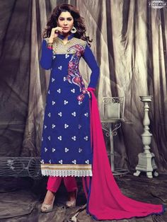 Trendy Blue And Pink Georgette Straight Suit. Pakistani Suits, Indian Suits, Anarkali Suits, Indian Dresses, Blue Dresses, Salwar Kameez Online, Sarees Online, Designer Salwar Suits, Designer Dresses