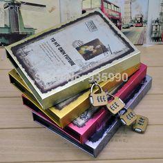 Valle de oro diario contraseña vendimia de la caja portátil con cierre libro de códigos en Libretas de Escuela y Oficina en AliExpress.com | Alibaba Group