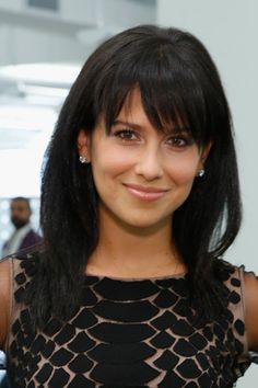hilaria baldwin - long hair/long bangs