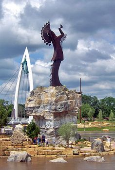 The Keeper of the Plains ~ Wichita ~ 44 foot steel sculpture designed by Blackbear Bosin was erected in 1974.