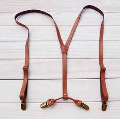 Wedding Suspender.Brown Leather Suspenders.1.9cm width.Mens Suspenders.Party Suspenders.Casual Suspenders.Dress Suspenders