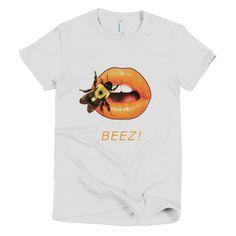 Short sleeve women's t-shirt White with Bee on Orange Lips