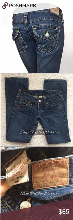 True Religion Becky bootcut jeans Super cute distressed dark wash Becky cut jeans from True Religion. Great condition with a little extra wear on hems. Flattering flap back pockets and silver logo buttons with sexy low rise fit. ❗Please read my recently updated 'about me and my closet' listing for pricing/policies. True Religion Jeans Boot Cut