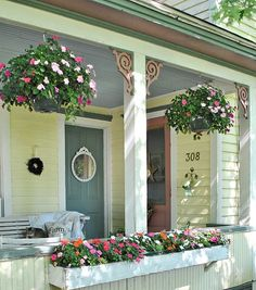 Hanging baskets on a