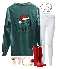 """""""Time for Christmas tees!"""" by ivory-ella ❤ liked on Polyvore featuring Frame Denim, Hunter, Essie, Links of London, GUESS and Kenneth Jay Lane"""