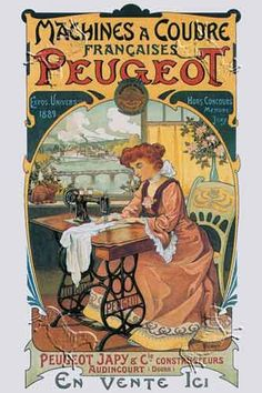 Vintage Peugeot advertisement, machine a coudre