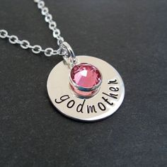 Sterling Silver Godmother Necklace - Hand Stamped Jewelry - Sterling Disc with Swarovski Crystal Godparent Gifts, Metal Stamping, Jewelry Stamping, Homemade Jewelry, Hand Stamped Jewelry, Metal Jewelry, Washer Necklace, Swarovski Crystals, Jewelry Making