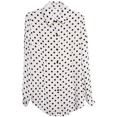 """Polka Dots"" White Shirt (135 BRL) ❤ liked on Polyvore featuring tops, shirts, blouses, polka dot, polka dot shirt, polka dot tops, white chiffon top, white shirts and chiffon tops"