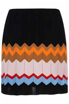 Multicolour cotton-blend chevron-knit skirt from M Missoni featuring a chevron pattern, a high rise, a straight fit and a short length. Printed Maxi Skirts, Pleated Midi Skirt, M Missoni, Chevron, Embellished Jeans, Silk Mini Dress, Linen Blazer, Floral Print Skirt, Pullover