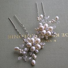 Set of 3 Freshwater Pearl And Crystal Floral by AaryannasBoutique