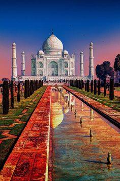 Sunset at the Taj Mahal, India #tourism #love