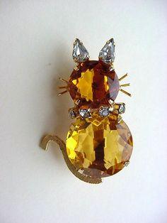 Vintage Juliana Amber Cat Pin Brooch by BrickCity on Etsy
