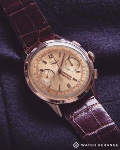 Hot Watch // A #rare ref. 5967 #vintage #oversized rose-gold #Longines 30CH #Flyback #Chronograph from circa 1956 // Coming next week to http://ift.tt/1qIwSwQ
