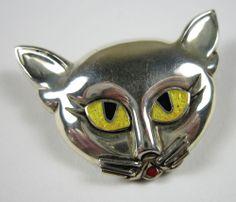 Vintage Margot de Taxco Sterling Silver Cat Head Pin Brooch w/ Enamel Eyes