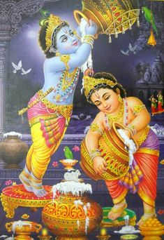 """BUTTER THIEF KRISHNA with Balram/ Hindu God Poster (Size 21""""X 31""""Inches) 7530 - $13.95. Namaste !!! Welcome to Manya creations This Item is Butter Thief Krishna with Balram/ Hindu God Poster - Reprint on Paper (Unframed : Size 21 """"X 31""""Inches) 7530 Size - 21 Inches x 31 Inches. Poster Condition - New and Mint Paper Quality - Good quality thick paper Packing - We Pack and Ship it in a Safe Plastic Tube PaymentWe accept Payment through PayPal. PayPal is the fastest... Shree Krishna Wallpapers, Lord Vishnu Wallpapers, Radha Krishna Wallpaper, Kerala Mural Painting, Indian Art Paintings, Bal Krishna, Radha Krishna Love, Bhagwan Shri Krishna, Dancing Ganesha"""
