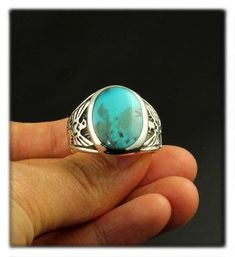 92355cc51 Men's silver saddle ring with natural Bisbee Turquoise by Bill Anderson Mens  Silver Rings, Mens