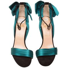 Preowned Christian Louboutin Teal High Heel Sandal (£385) ❤ liked on Polyvore featuring shoes, sandals, green, christian louboutin shoes, teal sandals, ankle strap shoes, teal green shoes and bow shoes