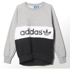 Adidas City Tokyo Sweatshirt (72 CAD) ❤ liked on Polyvore featuring tops, hoodies, sweatshirts, shirts, sweaters, medium grey heather, heather grey shirt, gray crewneck sweatshirt, logo shirts and adidas sweatshirt