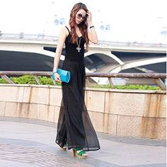 2017 Summer Style Sexy One Piece Outfits Wide Leg Black Rompers Womens Jumpsuits Long Pants Backless Overalls Loose Mono Mujer Long Chiffon Skirt, Chiffon Pants, Silk Chiffon, Dress Trousers, Wide Leg Trousers, Palazzo Trousers, Women's Pants, Boho Pants, Skinny