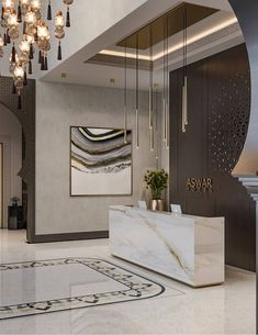 The clear-cut marble reception desk with cream streaks is backed with a laser-cut wooden screen, Hotel Reception Desk, Reception Desk Design, Hotel Lounge, Modern Reception Desk, Lobby Reception, Lobby Lounge, Hotel Lobby Design, Luxury Hotel Design, Interior Design Minimalist