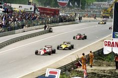 Andrea de Cesaris (ITA) (Marlboro Team Alfa Romeo), Alfa Romeo 183T - Alfa Romeo 890T 1.5 V8 (t/c) (RET) Patrick Daniel Tambay (FRA) (Scuderia Ferrari), Ferrari 126C2/B - Ferrari 031, 1.5 V6 (t/c) (finished 2nd)  Alain Marie Pascal Prost (FRA) (Equipe Renault Elf), Renault RE40 - Renault Gordini EF1, 1.5 V6 (t/c) (finished 1st)  1983 Belgian Grand Prix, Circuit de Spa-Francorchamps  © Cor van Veen   Source: Flickr