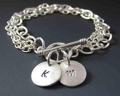 Personalized Silver Charm Bracelet  Custom by stringofjewels, $37.00