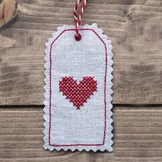 'Classic heart' Linen gift tag  | sophie made this