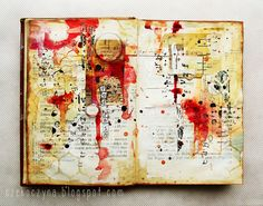 """art-journal page inspired by the """"Red rain"""" song. More: czekoczyna.blogspot.com/2013/03/to-make-housework-easier...."""