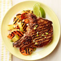Give your pork chops a tropical twist by pairing them with grilled pineapple. #fruit #protein #myplate