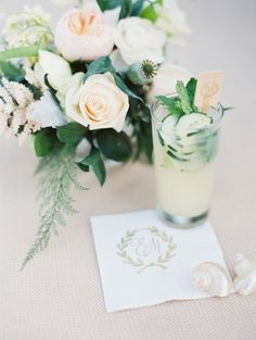 Specialty Cocktails with Monogram Napkins | Erich McVey Photography | Ethereal Neutral Wedding Ideas for Summer