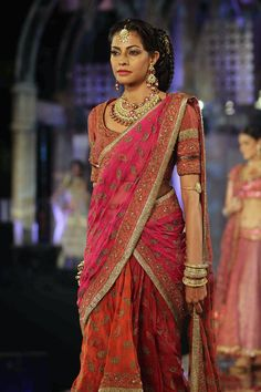 Tarun Tahiliani sari in pink and orange