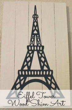 The Junk House: Eiffel Tower Wood Shim Art
