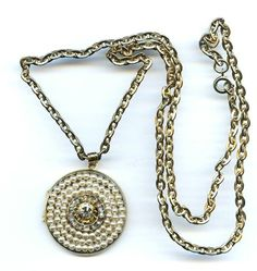Vtg 1940s Faux Pearl Clr Rhinestone Brass Tone Charm Locket Pendant Necklace