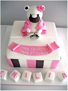 Pink Teddy Bear Christening Cake, Christening Cakes Sydney, Christening Cake Designs, Communion Cakes, Baptism Cakes by EliteCakeDesigns Sydney
