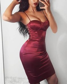 boutiquefeel / Lace-Up Side Bodycon Dress Burgundy Satin Dress, Lace Nightgown, Womens Fashion Online, Aesthetic Clothes, Beautiful Outfits, Hot, Sleeve Styles, Amazing Women, Party Dress