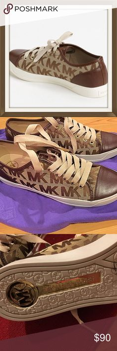 michael michael kors city sneaker⭐️ ⭐️tags removed but never worn! Logo-embossed leather brands a chic city sneaker sneaker in a classic low-profile cut. Brown leather round toe. Never worn! Size 8 ⭐️ MICHAEL Michael Kors Shoes Sneakers