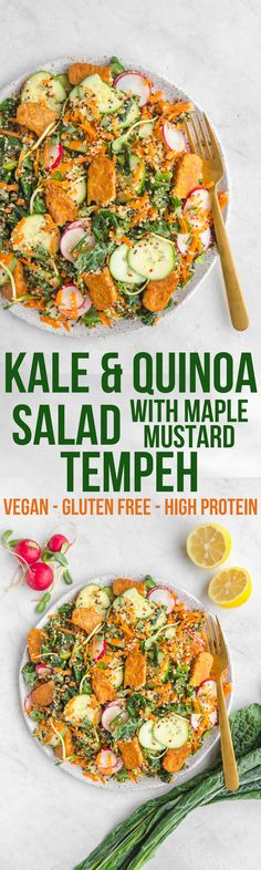This Kale & Quinoa Salad with Tempeh is an easy and healthy vegan dinner idea! #vegan #salad #quinoa #kale #plantbased #glutenfree
