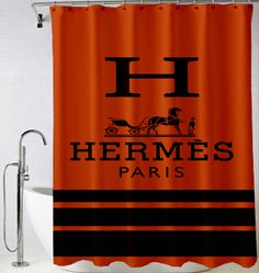 Hermes Paris logo design art Shower Curtain