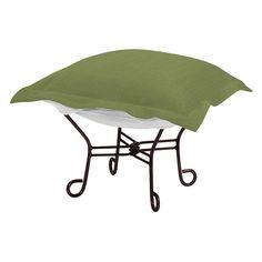 Outdoor Howard Elliott Seascape Sunbrella Scroll Puff Ottoman Seascape Moss Green - Q515-299