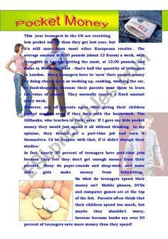 Pocket money - ESL worksheet by GigiGraziano Write My Essay Online, Online Essay Writer, Custom Essay Writing Service, Writing Services, Grammar Help, Essay Writing Skills, English Teaching Resources, Critical Essay, Pocket Money