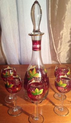 Wine Decanter With 5 Wine Glass Set Hand Painted Leaf and Etched Cranberry
