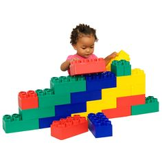 Let your childs imagination run wild with these jumbo, building blocks for kids. This set contains 24 pieces, 20 large and 4 half-sized. Young toddlers can play with these without the fear of choking. They come in the primary colors your kids love.
