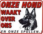 Duitse Herder Waakbord - Onze hond waakt over ons