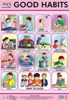 Kids Discover Good Habits Chart at Best Price in Delhi Delhi Classroom Charts, Classroom Posters, Preschool Charts, Classroom Rules, Classroom Design, Classroom Displays, Classroom Decor, Manners For Kids, Good Manners