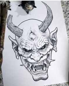 love to get an oni tattoo. Id want it to be authentic though. Getting tatt. , Would love to get an oni tattoo. Id want it to be authentic though. Getting tatt.Would love to get an oni tattoo. Id want it to be authentic though. Getting tatt. Oni Tattoo, Dark Art Tattoo, Demon Tattoo, Wrist Tattoo, Tattoo Small, Creepy Drawings, Dark Art Drawings, Art Drawings Sketches, Tattoo Sketches