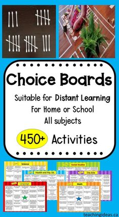 Teacher created, curriculum based choice boards with over 450 activities.  All activities can be done at home with minimal materials and little to no prep.  All subjects are covered and activities are fun and engaging.   #choiceboards #choiceboardskindergarten #choiceboardsfirstgrade #choiceboards2ndgrade #choiceboardspreschool #choiceboardsreading #distantlearningideas #distantlearning #distantlearningkindergarten #homeschool Math Activities For Kids, Social Studies Activities, Music Activities, Educational Activities, Classroom Activities, Teaching Resources, Indoor Activities, Literacy Activities, Teaching Ideas