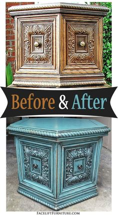 Chunky hexagon end table in Sea Blue and Black Glaze ~ Before & After. Find more painted, glazed & distressed inspiration on our Pinterest boards, or on the Facelift Furniture DIY blog.