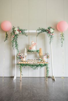 A Darling Dessert Display for a 1st Birthday with gorgeous captures by L'Estelle Photography, florals by Bootah Jardin Flowers and Desserts by Hello Sunshine Cake Studio