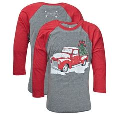 Southern Couture Lightheart Merry Christmas Truck Front Print Triblend Long Sleeve T-Shirt